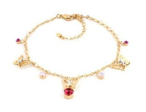 magnificent tiny pink swarovski elements crystal baby anklet