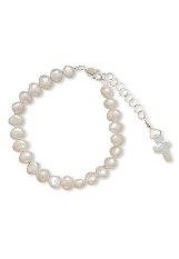 tiny admirable baby christening bracelets with white cultured freshwater pearls