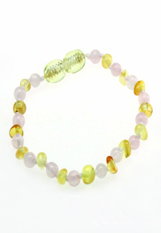 gorgeous tiny baltic amber with natural pink rose quartz beeds baby teething bracelet