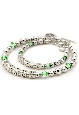 terrific tiny crystal personalized mother daughter bracelet