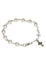 terrific itty-bitty pearl swarovski crystal baptism bracelet for babies and children