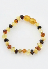 gorgeous multi-colored baltic amber baby teething bracelet