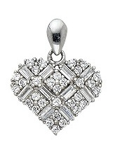 stunning small heart CZ white gold baby charm