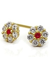 nice teeny red & white stone flower screw-back earrings for babies