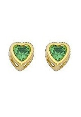 2f3d1a160 14K Yellow Gold 4mm Heart Bezel Set May CZ Birthstone Stud Earrings for Baby  and Children (Emerald, Green)
