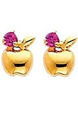 adorable little gold apple stud earrings for babies