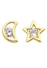 breathtaking small Open Star and Moon screw-back earrings for babies