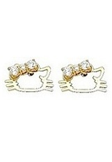 suitable little Kitty Cat gold baby earrings