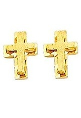 gorgeous small gold baby cross earrings