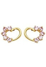 terrific small light pink heart gold screw-back earrings for babies