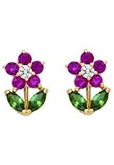 stunning sweet Red and Green Flower CZ baby stud earrings