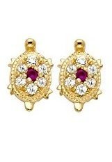 admirable small red turtle gold baby earrings