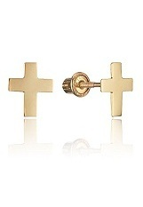 small gorgeous plain gold baby cross earrings