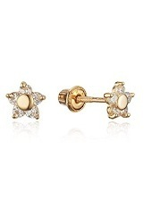 nice mini flower stud gold earrings for babies and children