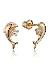 little tiny dolphin stud baby gold earrings