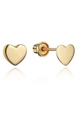 beautiful tiny yellow gold and white gold heart earrings for babies and kids