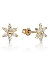 charming teensy-weensy flower stud gold earrings for babies and children