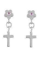 lovely little sapphire flower dangling baby cross earrings