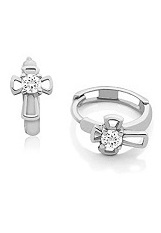 small lovely silver baby cross earrings