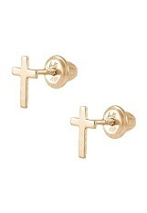 marvelous yellow gold stud baby cross earrings