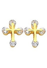 beautiful yellow gold baby earrings with a cross