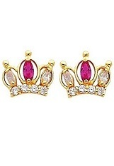 lovable itsy-bitsy crown CZ screw-back earringd for babies and children