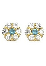 pretty small gold December Birthstone baby flower earrings