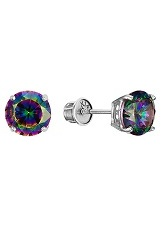 captivating tiny rainbow mystic CZ white gold earrings for babies and children
