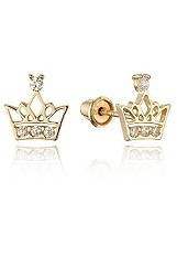 superb little princess crown gold earrings for babies and children