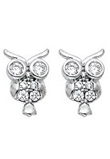 beautiful tiny owl stud white gold baby earrings