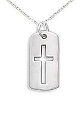 gorgeous small sterling silver baby cross necklace with cut out tag