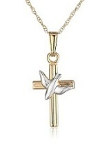 stunning tiny 14K two-tone cross necklace for babies