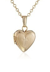 superb small 14k gold filled heart baby cross necklace