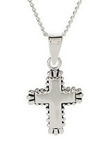 remarkable little silver cross baby charm necklace
