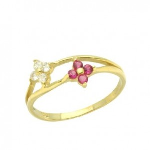 a little gold baby ring red and white cluster