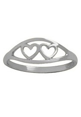 terrific little gold double heart white gold baby ring