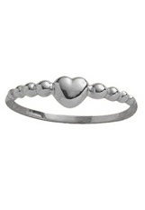 superb small bead style heart white gold ring for babies