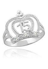 remarkable mini Queen Quinceanera crown white gold ring for children