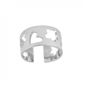 a sweet silver adjustable baby ring with heart and flower