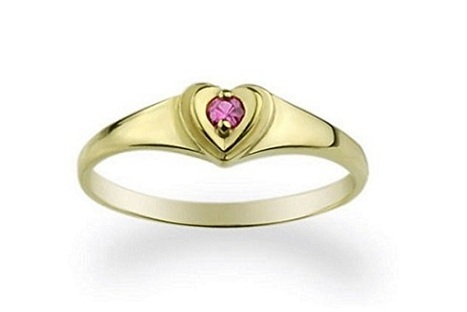 adorable small CZ heart baby ring