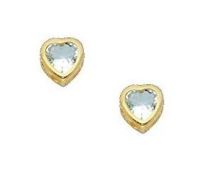 7de3f6c98 14k Yellow Gold 5mm Heart Bezel Set March Cz Birthstone Stud Earrings For  Baby And Children (aquamarine, Light Blue)
